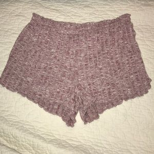 Pink ruffle sleep shorts
